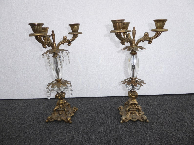 Pair of French Provincial Candalabras Candle Holders w Crystals