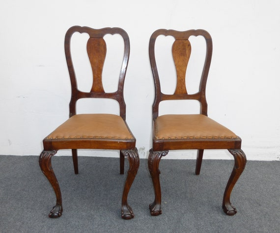 Amazing Pair Brown Leather Chippendale Style Carved Wood Accent Chairs Ball Claw Feet Unemploymentrelief Wooden Chair Designs For Living Room Unemploymentrelieforg