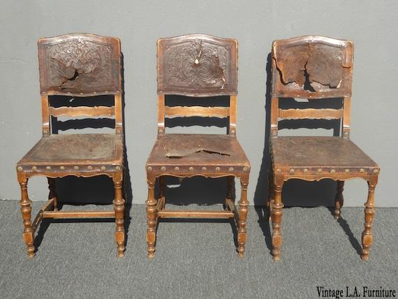 3 Antique Spanish Revival Embossed, Spanish Revival Furniture