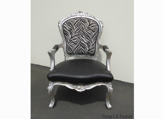 Astonishing Large Vintage French Provincial Zebra Ostrich Print Silver Accent Chair Andrewgaddart Wooden Chair Designs For Living Room Andrewgaddartcom