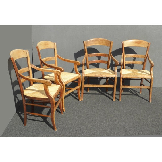 e762e2f2cc77 Vintage French Country Rush Seat Mahogany Dining Chairs Set