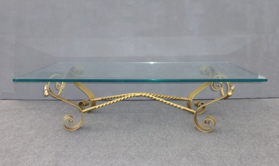 Vintage Spanish Revival Gold Gilt Wrought Iron Glass Coffee Table Mid Century