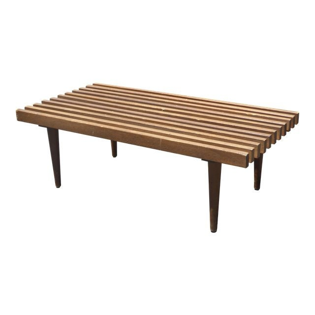 Vintage Mid Century Modern Bench Or Coffee Table W Wood Slats