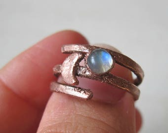 Crescent moon ring - Bohemian rings. Moon phases. Boho moonstone ring. Wiccan jewelry. Alternative engagement ring. Electroformed