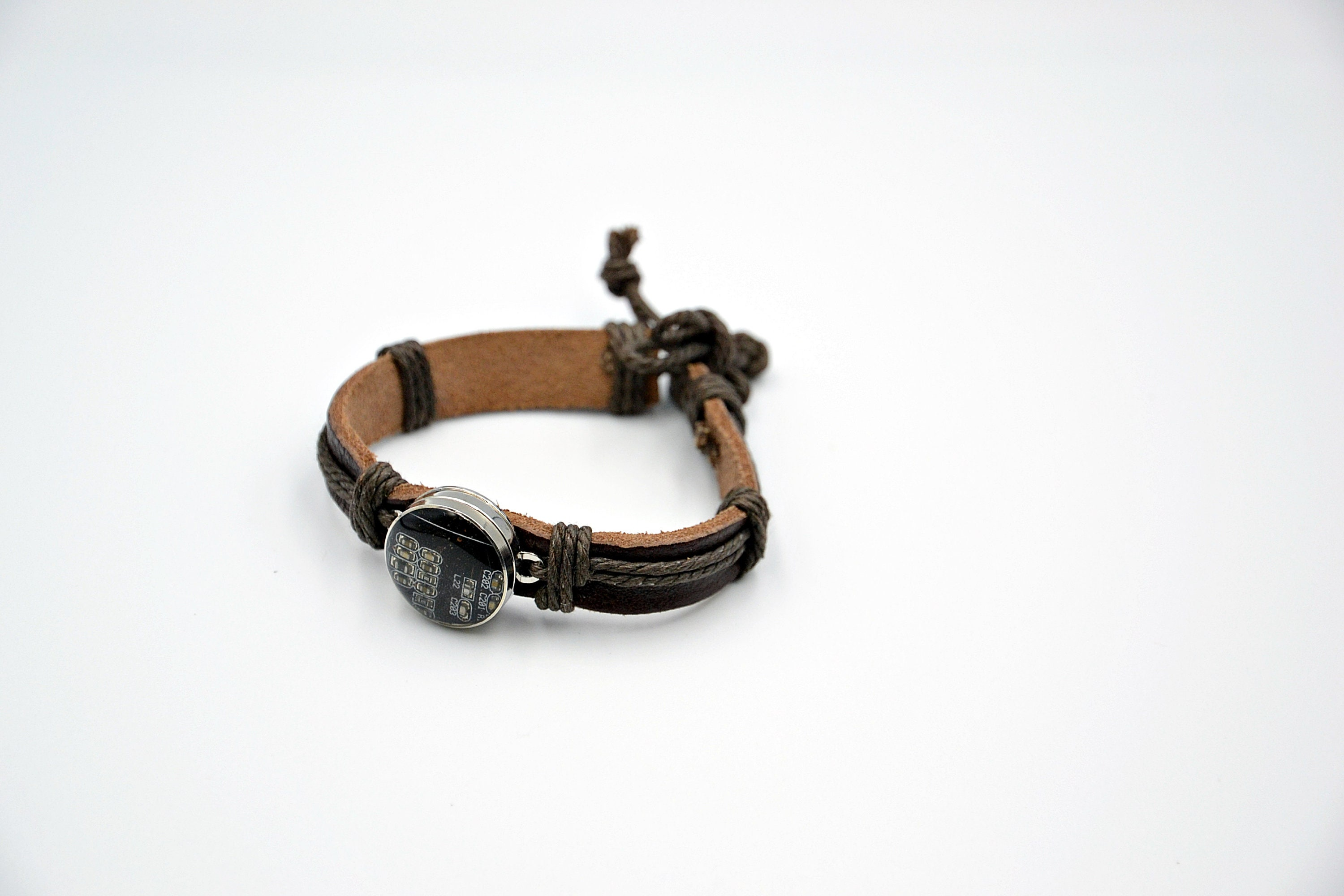 beautit geek leather bracelet with computer components etsy