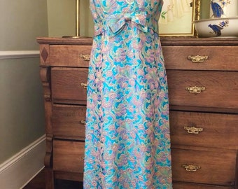 Beautiful 1960's Turquiose/Pink/Green Floral Brocade Dress