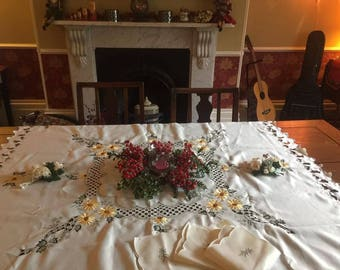 Vintage Sqaure Christmas Tablecloth with 3 Matching Napkins and 2 Vintage Candle Surrounds