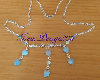 Aquamarine Hearts Silver Necklace by IreneDesign2011