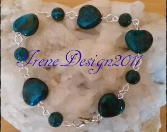 Chrysocolla Hearts Bracelet by IreneDesign2011