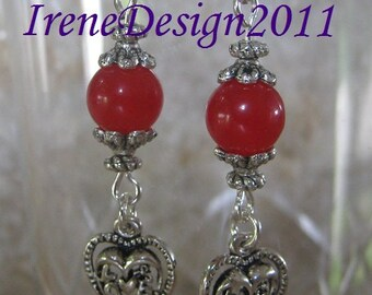 Red Jade & Heart Earrings by IreneDesign2011