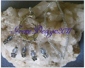 Handmade Silver Necklace with Blue Fluorite & Butterflies by IreneDesign2011