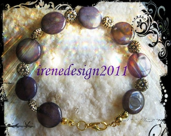 Bracelet with Amethyst Coins & Flowers by IreneDesign2011