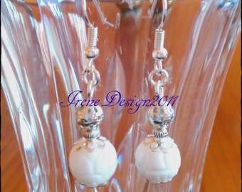 White Carved Coral Earrings by IreneDesign2011