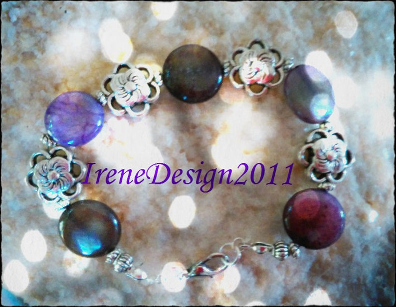 Amethyst Coins & Silver Flowers Bracelet by IreneDesign2011 image 0