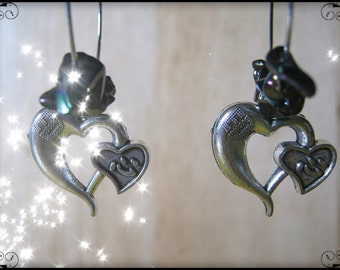 Handmade Silver Earrings with Rainbow Obsidian & Hearts by IreneDesign2011