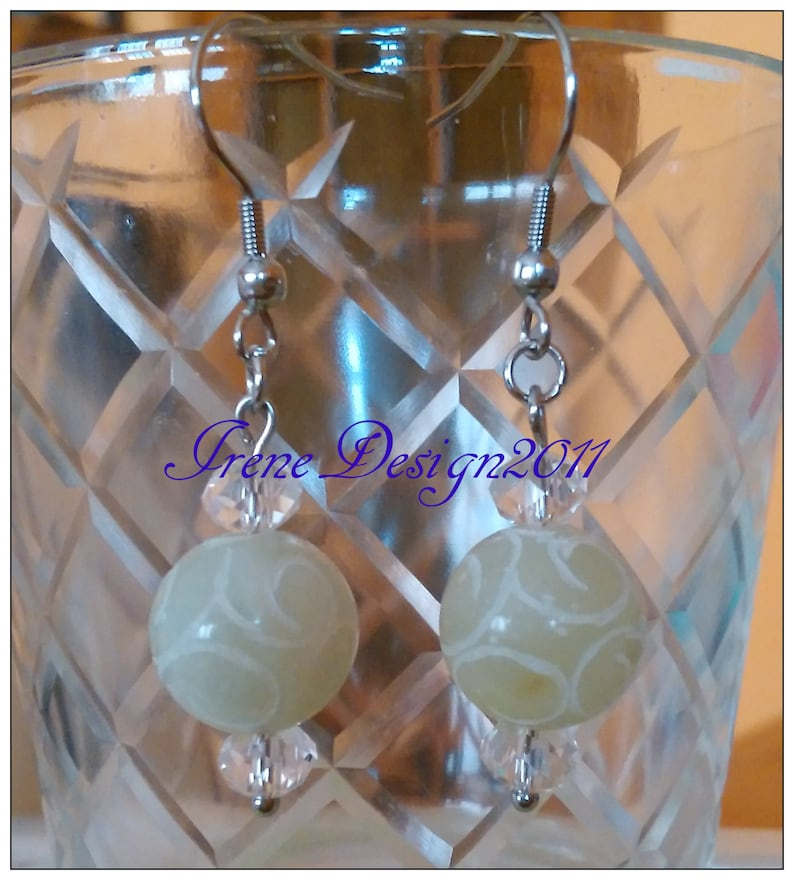 Carved Jade Stainless Steel Earrings by IreneDesign2011 image 0