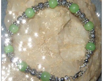 Handmade Silver Bracelet with Green Jade by IreneDesign2011
