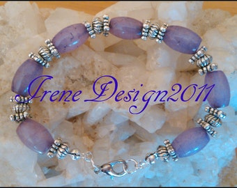 Amethyst Rice Silver Bracelet by IreneDesign2011