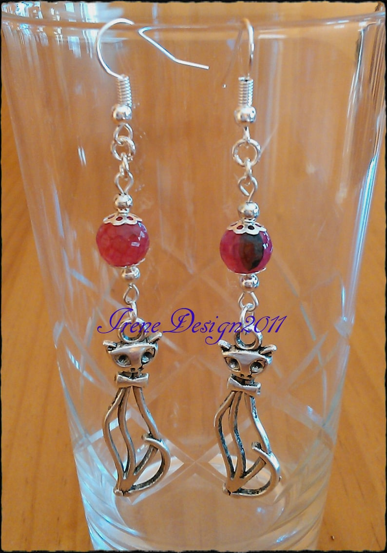 Pink Vein Agate & Silver Cat Earrings by IreneDesign2011 image 0