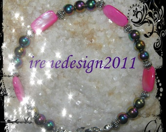 Handmade Silver Bracelet with Pink Shell & Magnetite by IreneDesign2011