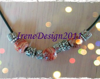 Handmade Leather Necklace with Wooden Beads & Silver by IreneDesign2011
