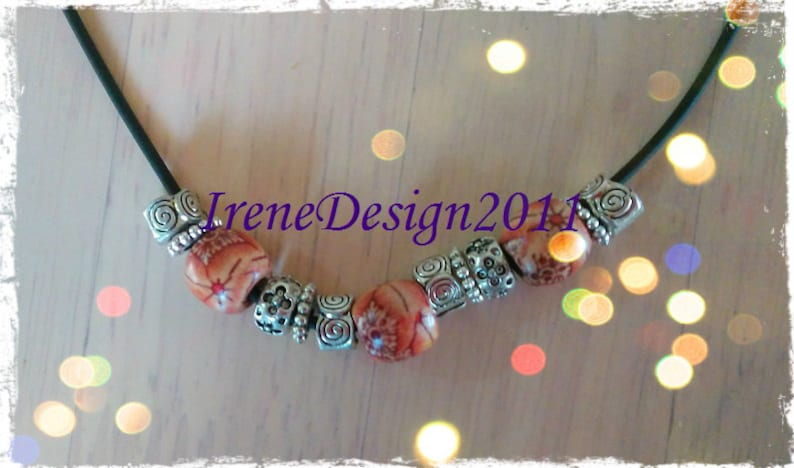 Leather Cord with Wooden Beads & Silver by IreneDesign2011 image 0
