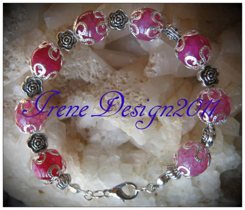 Handmade Silver Bracelet with Pink Dream Dragon Vein Agate & image 0
