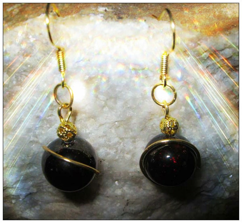 Red Garnet Gold Earrings by IreneDesign2011 image 0