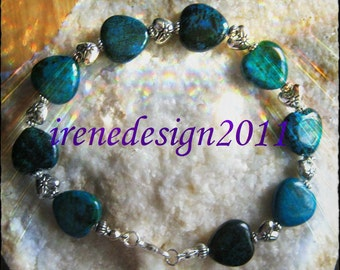 Handmade Silver Bracelet with Chrysocolla & Silver Hearts by IreneDesign2011