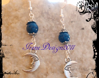 Lapis Lazuli & Moon Earrings by IreneDesign2011