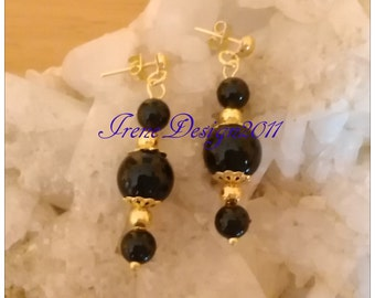 Black Onyx Gold Stud Earrings by IreneDesign2011