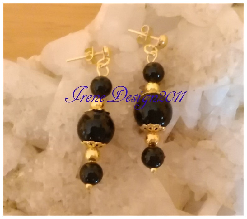 Black Onyx Gold Stud Earrings by IreneDesign2011 image 0