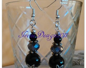 Black Onyx & Facetted Crystal Earrings by IreneDesign2011