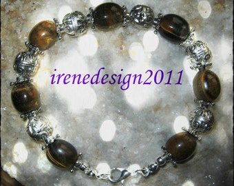 Handmade Silver Bracelet with Tigers Eye by IreneDesign2011