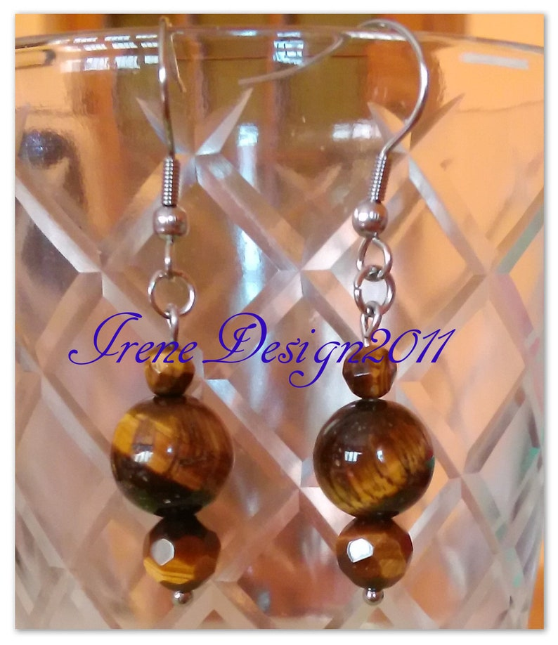 Tiger's Eye Stainless Steel Earrings by IreneDesign2011 image 0