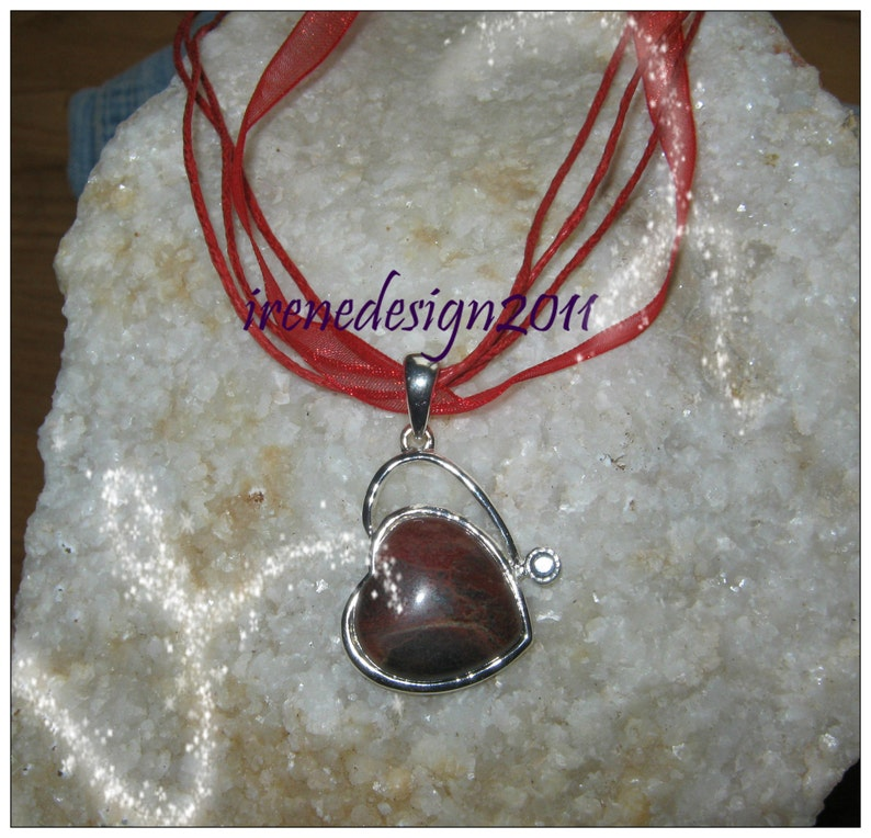 Agate Heart in Silver Silk Necklace by IreneDesign2011 image 0