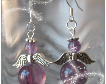 Handmade Silver Guardian Angel Earrings with Violet Fluorite by IreneDesign2011