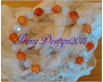 Orange Topaz & Facetted White Opal Bracelet by IreneDesign2011