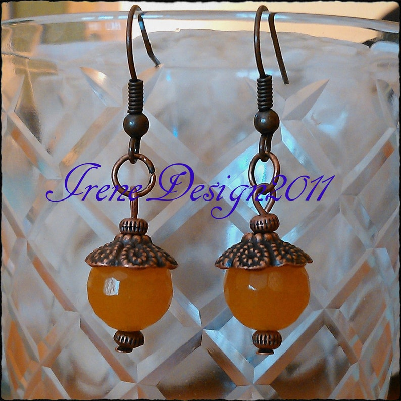 Facetted Orange Topaz Copper Earrings by IreneDesign2011 image 0