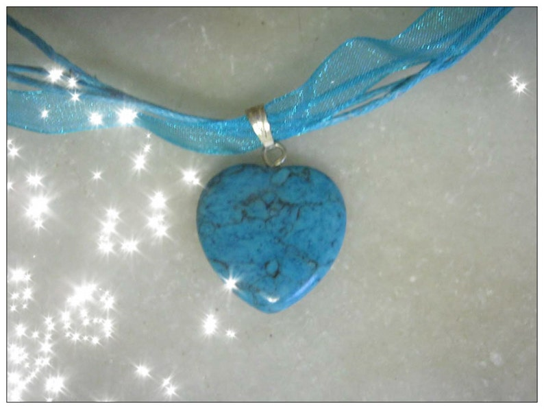 Turquoise Silk Necklace with Turquoise Heart by image 0