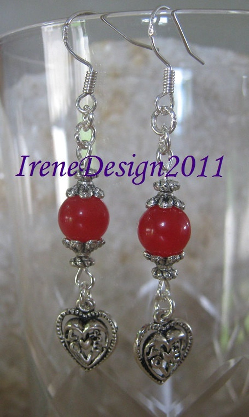 Red Jade & Heart Earrings by IreneDesign2011 image 0