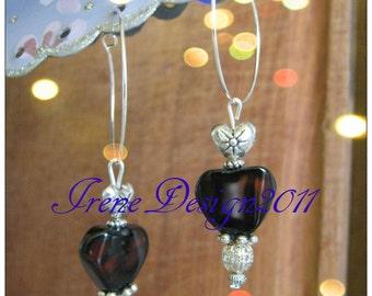 Mahogany Obsidian Heart Earrings by IreneDesign2011