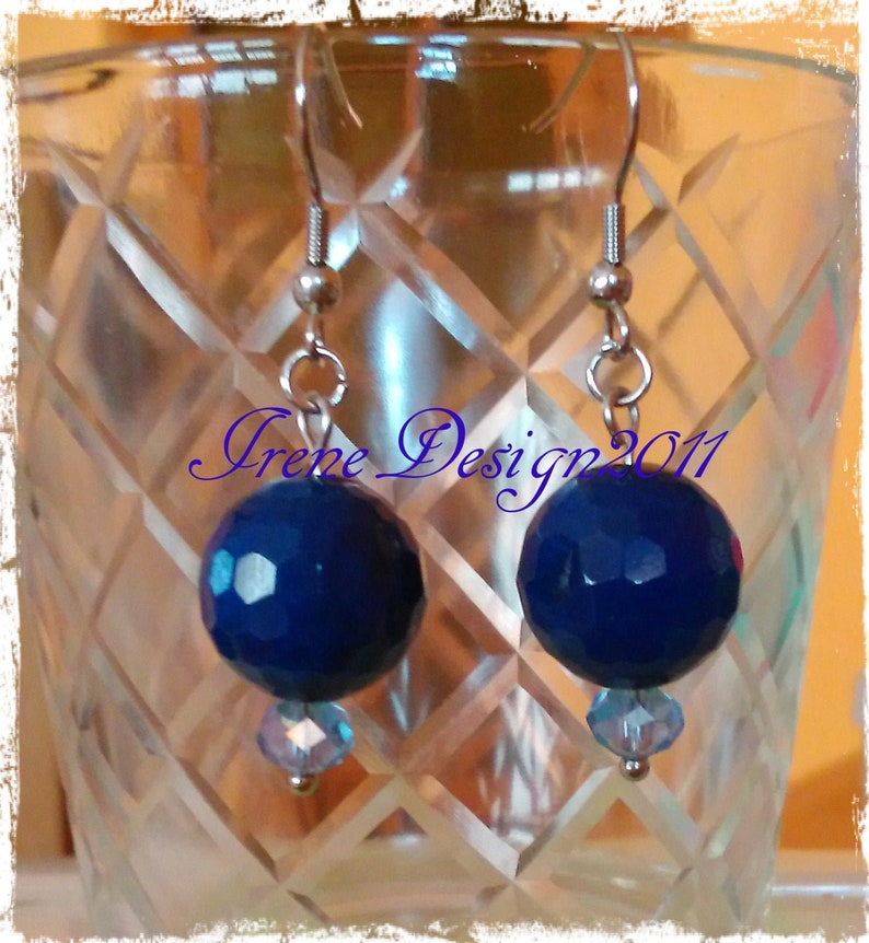 Facetted Blue Jade Stainless Steel Earrings by IreneDesign2011 image 0