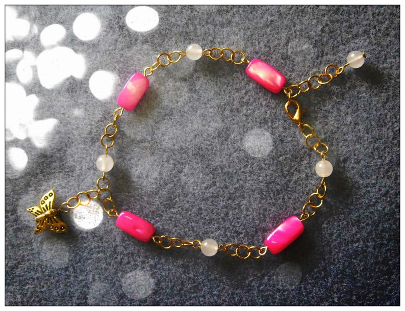 Gold Anklet with Pink Seashell Opal & Butterfly by image 0