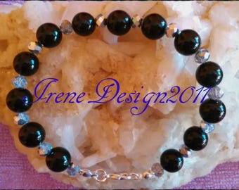 Black Onyx & Facetted Crystal Bracelet by IreneDesign2011