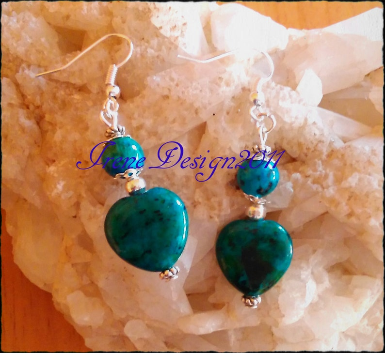 Chrysocolla Heart Earrings by IreneDesign2011 image 0