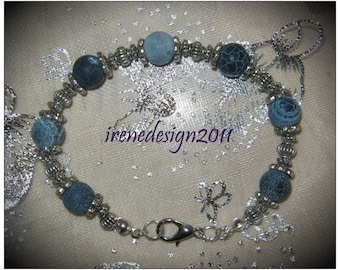 Handmade Silver Bracelet with Blue Frosted Vein Agate by IreneDesign2011