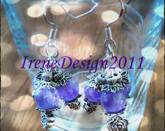 Handmade Silver Earrings with Crackled Amethyst & Roses by IreneDesign2011