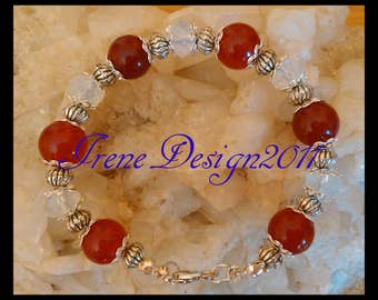 Ruby & Facetted White Opal Bracelet by IreneDesign2011
