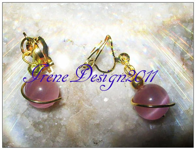 Pink Cat Eye Gold Clip-On Earrings by IreneDesign2011 image 0